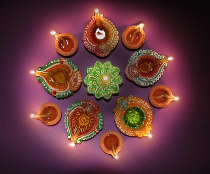 Colorful diya during diwali celebration
